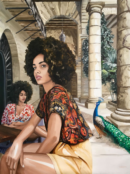 Pan-Pan - Painting,  51.2x38.2 in ©2018 by Aurélie Quentin -                                                                                                                                Figurative Art, Contemporary painting, Portraiture, Realism, Animals, Architecture, Women, Garden, Birds, Cuba, exotisme, exotic, tropical, maison, terrasse, végétation, chill, lazy, oisiveté, idleness, nonchalence, afro, multiratical, twins, beauty, belle, impertinence, irrévérence, sexy