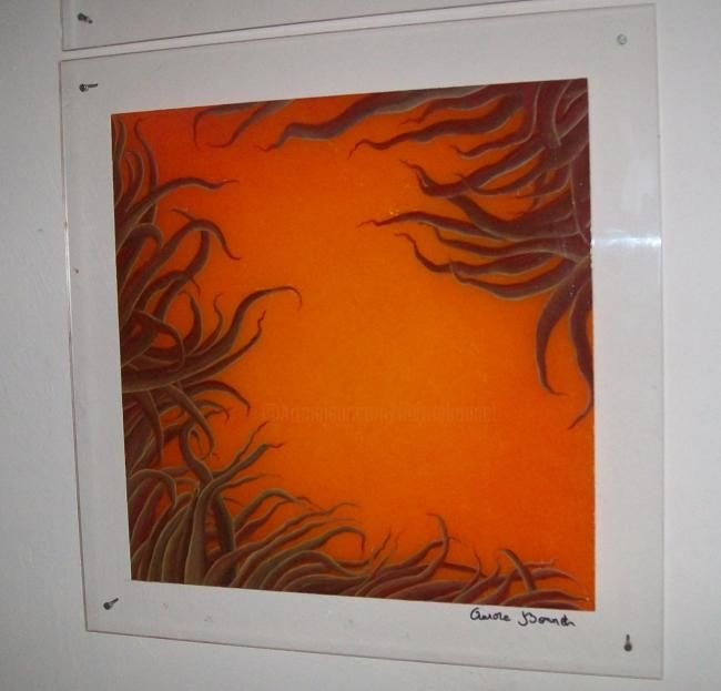 Coraline - Painting,  19.7x19.7 in, ©2010 by Aurore Bonnet -                                                                                                                                                                          Abstract, abstract-570, toile abstrait couleur corail orange
