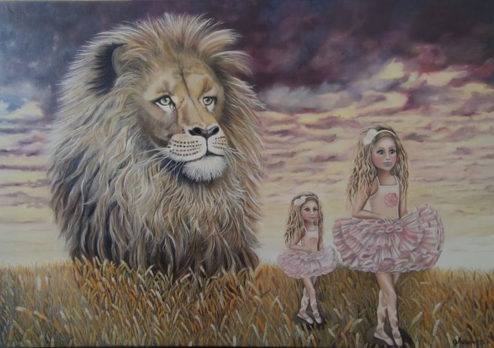 """Painting titled """"Growing up on her D…"""" by Ausra Manamangas, Original Art, Oil Mounted on Stretcher frame"""