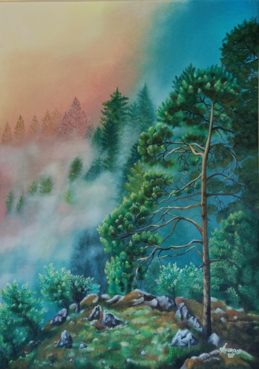 """Painting titled """"The Misty Sunrise"""" by Ausra Manamangas, Original Art, Oil Mounted on Stretcher frame"""