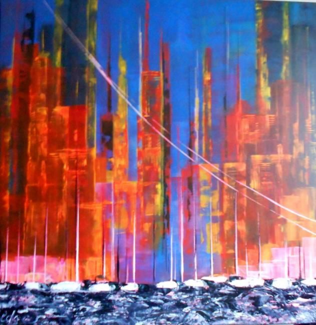 MANHATTAN COUCHER DE SOLEIL TOILE SUR CHASSIS 90 X 90 ACRYLIQUE COUTEAU - Painting,  90x90 cm ©2012 by EDWIGE (EDGES) LEFEVRE -                                                            Contemporary painting, Canvas, Abstract Art, MANHATTAN ABSTRAIT ART PEINTURE TABLEAU CONTEMPORAIN SUREALISTE EDWIGE LEFEVRE