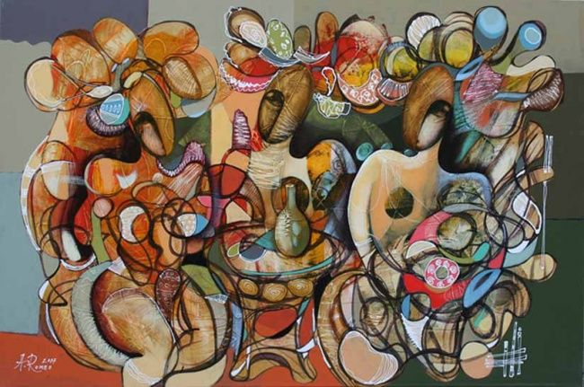 Feast - Painting,  23.6x35.4 in, ©2007 by Romeo Avagyan -