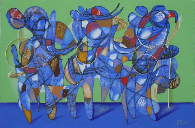 Dancers - Painting,  23.6x35.4 in, ©2007 by Romeo Avagyan -