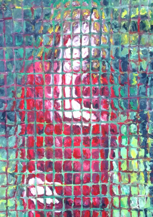 Donna in rosso nel giardino - Painting,  27.6x19.7 in ©2019 by Paolo Avanzi -                                        Contemporary painting, People