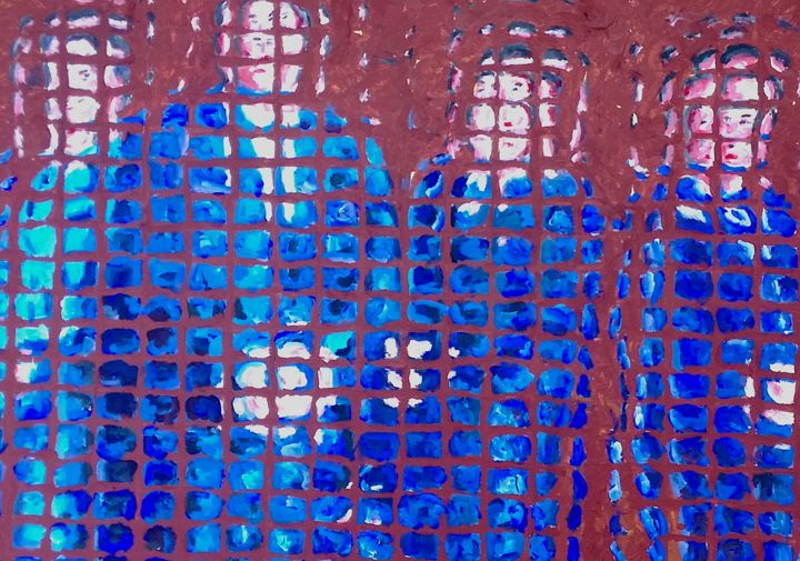 4 uomini in blu - Painting,  27.6x19.7 in ©2019 by Paolo Avanzi -                                            Contemporary painting, People, paolo avanzi