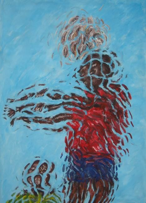 Colpo di testa - Painting,  70x50 cm ©2010 by Paolo Avanzi -                            Contemporary painting, football