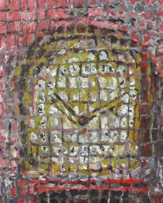 Vecchio orologio - Painting,  11.8x9.5 in ©2012 by Paolo Avanzi -                        Contemporary painting