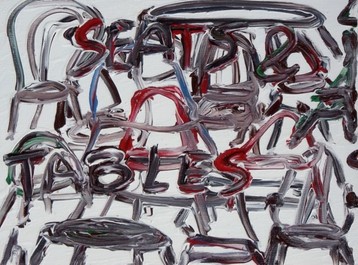 Seats & tables - Painting,  7.1x9.5 in ©2013 by Paolo Avanzi -            seats, tables, table, seat, sedie, tavole, paolo avanzi