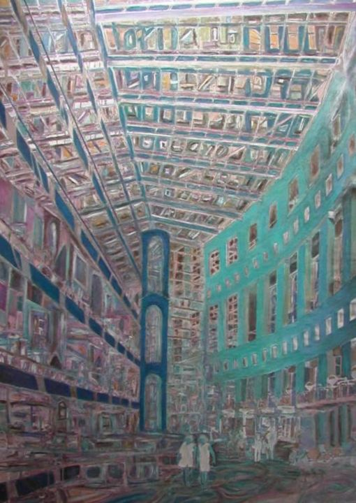 All'interno del city center - Painting,  95x120 cm ©2004 by Paolo Avanzi -