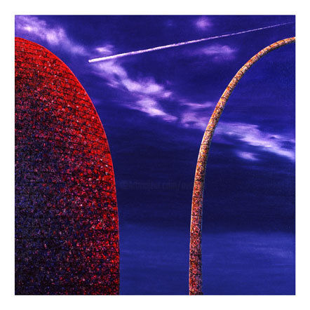 Shooting Star - Painting,  37.4x37.4x1.2 in, ©2001 by Andre Van Der Kerkhoff -                                                                                                                                                                          Abstract, abstract-570, Landscape