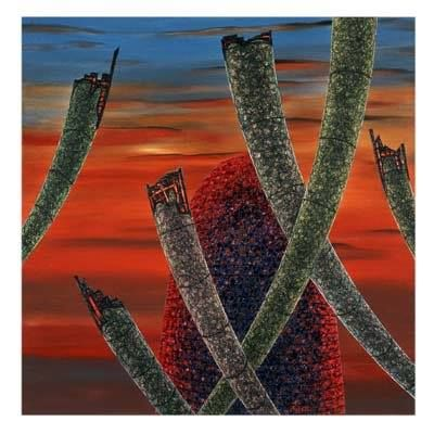 Bushfire Sunset - Painting,  37.4x37.4x1.2 in, ©2001 by Andre Van Der Kerkhoff -                                                                                                                                                                          Abstract, abstract-570, Landscape