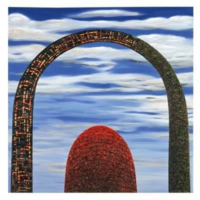 Smouldering Arch - Painting,  37.4x37.4x1.2 in, ©2001 by Andre Van Der Kerkhoff -                                                                                                                                                                          Abstract, abstract-570, Landscape
