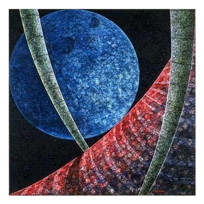 Blue Moon - Painting,  37.4x37.4x1.2 in, ©2001 by Andre Van Der Kerkhoff -                                                                                                                                                                          Abstract, abstract-570, Landscape