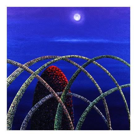 Full Moon - Painting,  37.4x37.4x1.2 in, ©2001 by Andre Van Der Kerkhoff -                                                                                                                                                                          Abstract, abstract-570, Landscape