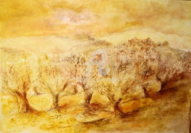 LES OLIVIERS 3 - Painting,  90x64 cm ©2010 by Jenny Avenel -