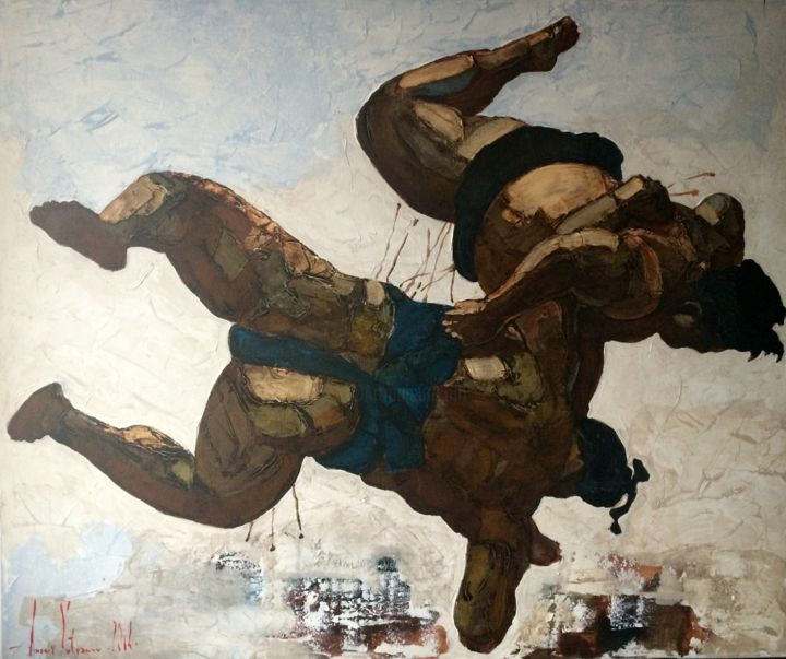 Sumo 1 - Painting,  120x2x100 cm ©2014 by Andriy Vutyanov -                                                                                                        Contemporary painting, Canvas, Asia, Health & Beauty, Nude, Sports, Body