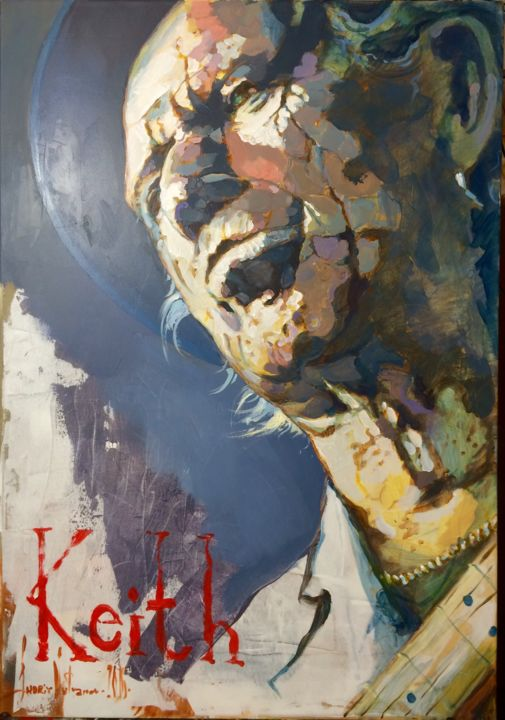 Keith Richards - Painting,  100x70x2 cm ©2016 by Andriy Vutyanov -                                                                                                                                                                    Art Deco, Impressionism, Land Art, Pop Art, Portraiture, Contemporary painting, Canvas, Celebrity, Culture, Music, Pop Culture / celebrity, Portraits