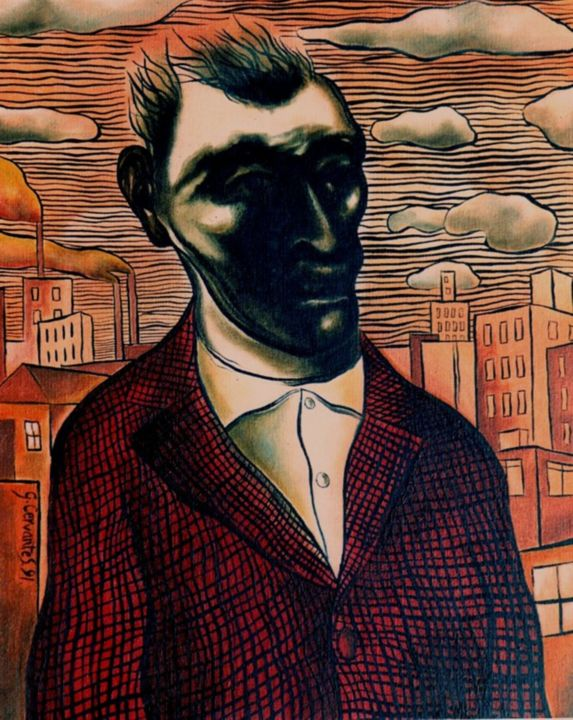 Portrait of Fred Bloggs in an industrial landscape - Painting,  41x35 cm ©1991 by Geoffrey Cervantes/AXIS -                        Canvas