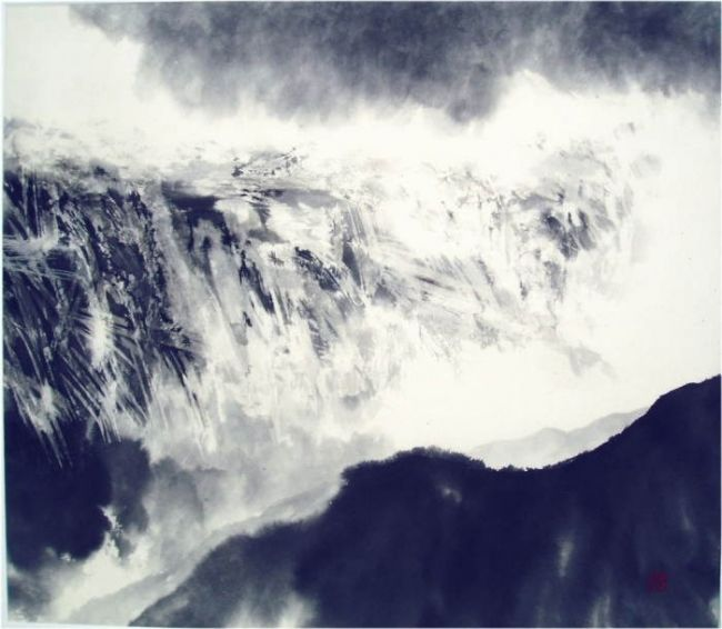 INTERSTICE 229 * RIFTS 229 - Painting,  49x56 cm ©2006 by Rikka Ayasaki -                                                    Contemporary painting, Abstract Art, Minimalism, art, nature, zen, Painting, landscape, paysage, encre, ink, peinture, noir et blanc, SUMI, montagne