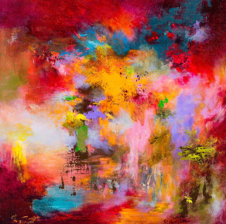 Sunset 89  (disponible) - Painting,  50x50x2 cm ©2015 by Rikka Ayasaki -                                                                                                Contemporary painting, Abstract Art, Impressionism, Symbolism, Canvas, Fantasy, couleur, Abstract, landscape, painting, Lyric, emotions, sky, contemporary, dramatic