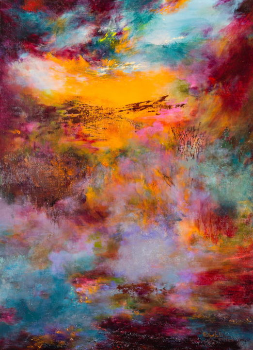sunset 76  (disponible) - Painting,  100x73x2 cm ©2014 by Rikka Ayasaki -                                                                                                                                                Contemporary painting, Abstract Art, Impressionism, Symbolism, Canvas, Abstract Art, Fantasy, Light, Nature, Landscape, painting, colors, Abstract, landscape, Lyric, emotions, trees, twilight, contemporary, impressionism
