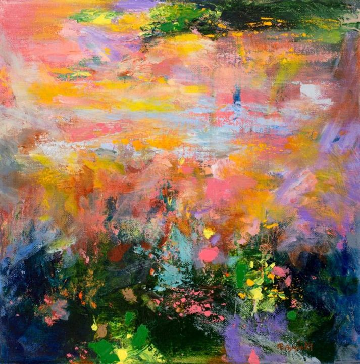 Evening sun 119 - Painting,  30x30x2 cm ©2016 by Rikka Ayasaki -                                                            Contemporary painting, Canvas, Fantasy, peinture, couleur, paysage, rosé, vert, acrylique