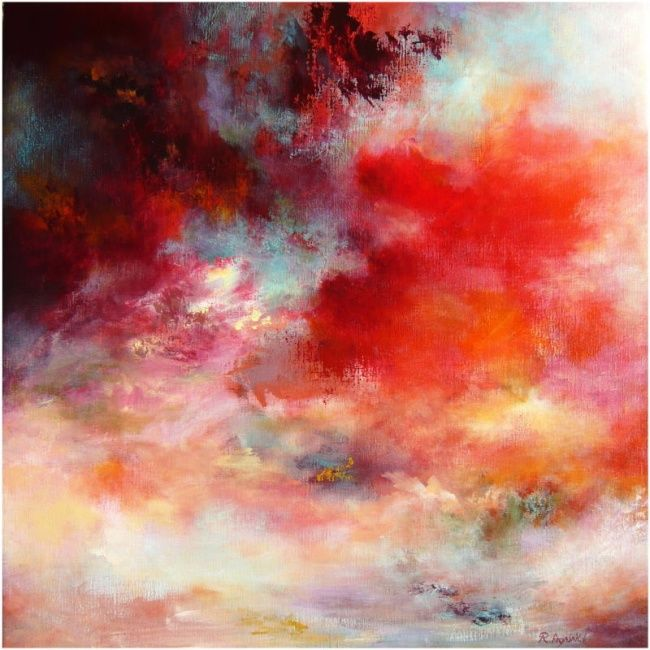 Passions 7003, ( VENDU, SOLD) - Painting,  5x70x70 cm ©2011 by Rikka Ayasaki -                                                            Contemporary painting, Canvas, Fantasy, rouge, couleur, abstraction, nuages, arbres, paysage, lumière