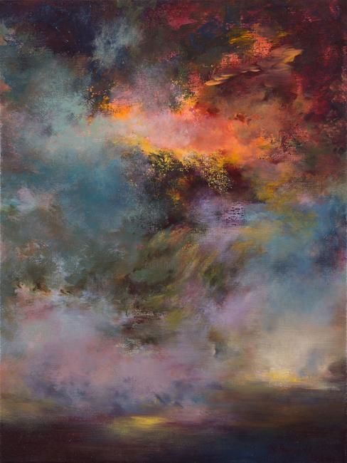 Passions, crepuscule 7005 (disponible), - Painting,  80x60 cm ©2012 by Rikka Ayasaki -                                                            Contemporary painting, Canvas, Fantasy, couleur, abstraction, arbres, lumière, paysage, nuages, ciel