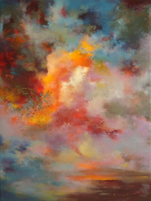 Passions 7004, (VENDU, SOLD) - Painting,  5x60x80 cm ©2011 by Rikka Ayasaki -                                                            Contemporary painting, Canvas, Fantasy, couleur, abstrait, ciel, lumière, nuages, paysage, fantaisie, coucher du soleil