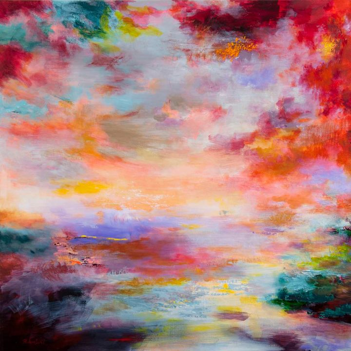 (disponible),  Passions, Firmament 7052 - Painting,  100x100 cm ©2014 by Rikka Ayasaki -                                                            Abstract Art, Canvas, Fantasy, couleur, nuage, ciel, fantaisie, Lyrique, paysage, nature