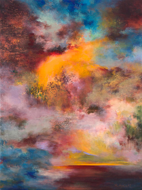 Passions, Twilight 7010,  (VENDU, SOLD) - Painting,  80x60x5 cm ©2012 by Rikka Ayasaki -                                                                                    Abstract Art, Contemporary painting, Symbolism, Canvas, Fantasy, couleur, émotions, abstraction, audace, Paysages