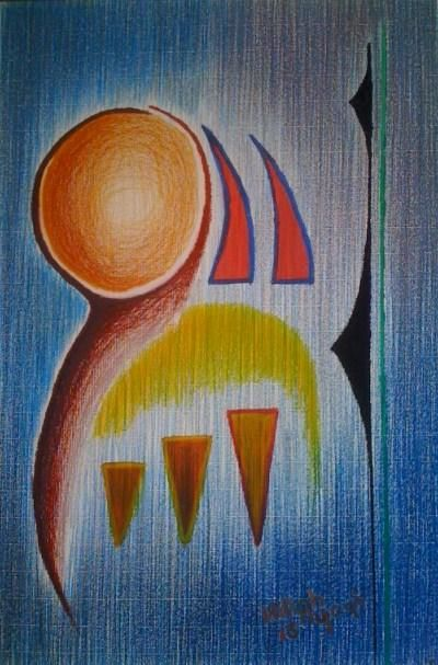 Le Messager - Painting,  70x50 cm ©2013 by Ayayi Hillah -