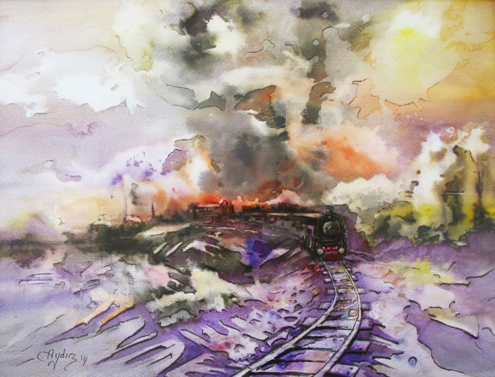 Train Painting by Aydin Baykara | Artmajeur