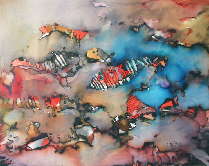 Fishes Painting by Aydin Baykara | Artmajeur