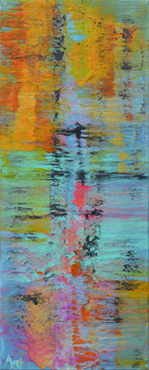 Impressions - Painting,  39.4x15.8 in, ©2019 by AYEL -                                                                                                                          Abstract, abstract-570
