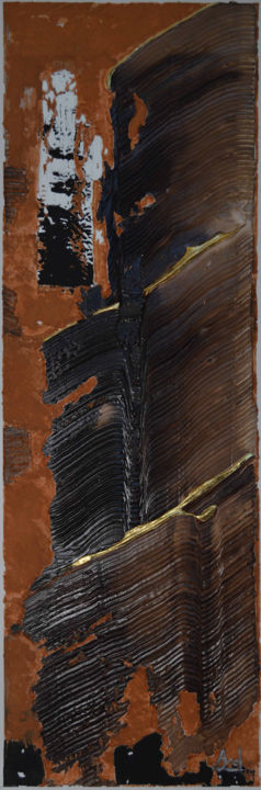 Fin de série - Painting,  47.2x15.8 in, ©2012 by AYEL -                                                                                                                                                                                                                                                                                                              Abstract, abstract-570, Jacques Ayel, brou de noix, feuille d'or, fin de série.