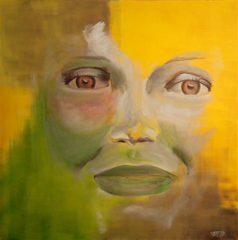 WHO - Painting,  80x80 cm ©2007 by Marie AYISSI -                            Canvas, femme regard visage couleur