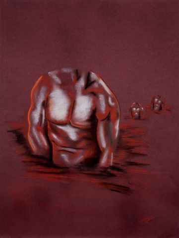 BODY - Drawing,  65 cm ©2007 by Marie AYISSI -                            Nude, homme torse dessin sanguine crayon