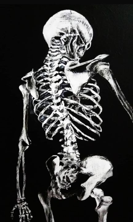 Female Human Skeleton - Malerei,  19,7x13,8x0,8 in, ©2019 von Ayşe Taşdelen -                                                                                                                                                                                                                                                                                                                                                                                                                                                                                                                                                                                                                                                                                                                                                                                                                      Figurative, figurative-594, Wissenschaft, Science-Fiction, Geometrisch, Frauen, Schwarz-weiß, İskelet, Skeleton, Siyah, Beyaz, Siyah beyaz, Kadın, Gerçekçilik, Geometrik, Bilim, Anatomi