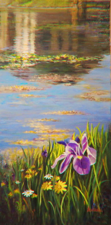 Reflexions - Painting,  29.9x15x1.6 in, ©2017 by Azucena -                                                                                                                                                                                                                                                                                                                                                                                                                                                      Impressionism, impressionism-603, Landscape, water, reflexions, lilly, flowers, botanical, water lillies