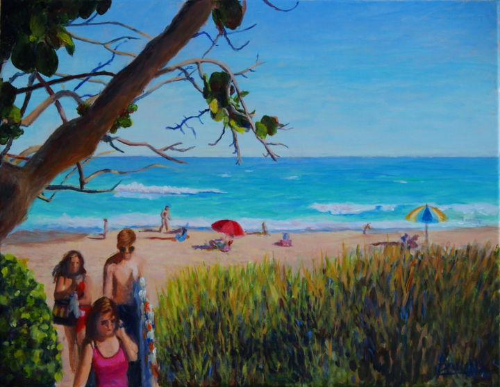 Une journée à la plage - A day on the beach - Painting,  13.8x18.1x0.8 in, ©2018 by Azucena -                                                                                                                                                                                                                                                                                                                  Impressionism, impressionism-603, Beach, beach, summer, sea