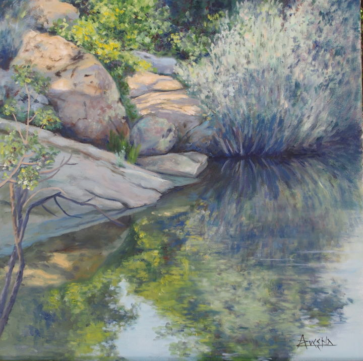 """Charmante nature"" ""Charming nature"" - Painting,  19.7x19.7x0.8 in, ©2018 by Azucena -                                                                                                                                                                                                                                                                                                                  Impressionism, impressionism-603, Mountainscape, River, rocks, water"