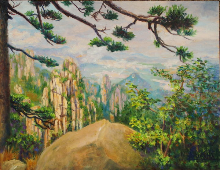 Émerveillée à Huangshan - Awesome Huangshan - Painting,  13.8x18.1x1.6 in, ©2018 by Azucena -                                                                                                                                                                                                                                                                                                                                                                                                                                                                                                                                                                                                                                      Impressionism, impressionism-603, Outer Space, Nature, Mountainscape, Travel, Mountains, Huangshan, Yellow mountain, landscape, nature, spanish-canadian artist, rocks