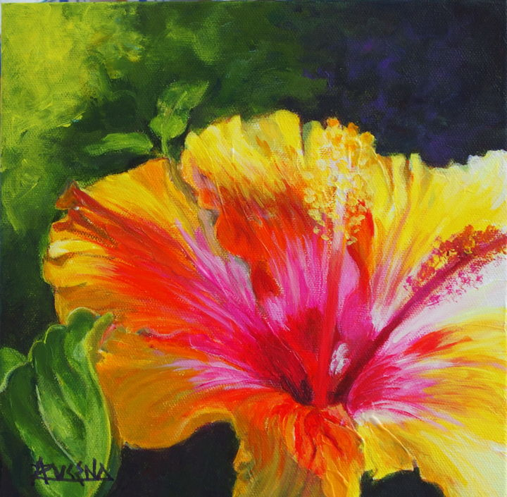 """Painting titled """"Happy flower"""" by Azucena, Original Art, Acrylic"""