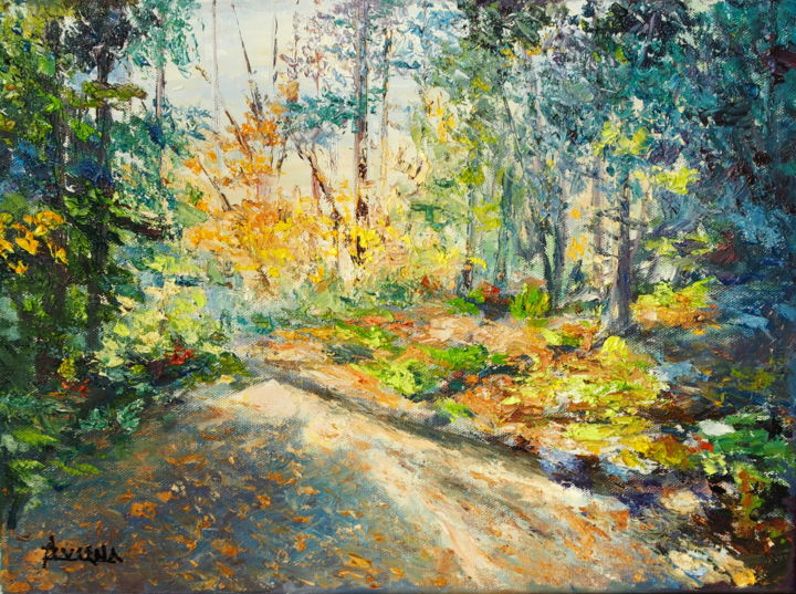Joy Trail - Sentier de joie - Painting,  12.2x16.1x0.8 in, ©2019 by Azucena -                                                                                                                                                                                                                                                                                                                                                              Impressionism, impressionism-603, Landscape, Fall colors, nature trail, National Park, Canada