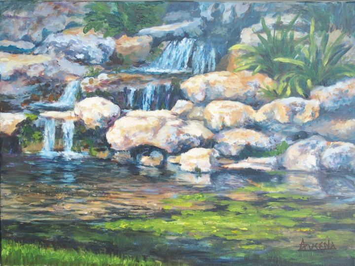 """""""Rocky pond"""" - Painting,  12.2x16.1x0.8 in, ©2020 by Azucena -                                                                                                                                                                                                                                                                                                                                                                                                          Impressionism, impressionism-603, Garden, rocks, pond, garden, water, waterfall"""
