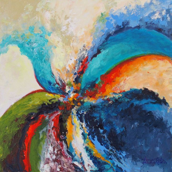 Color Painting, oil, abstract, artwork by Azucena