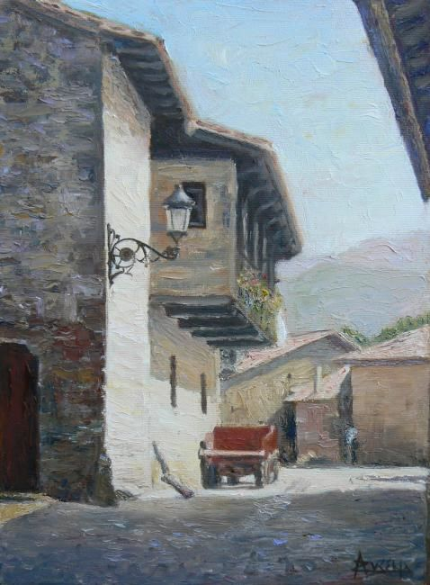 Partis faire la sieste - Painting,  35.5x28 cm ©2007 by Azucena -                            Figurative Art, Village scene Spain