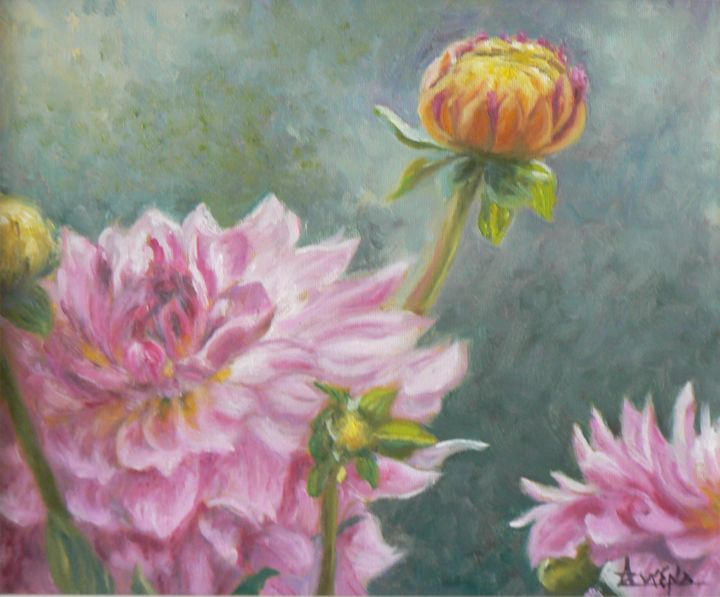 Joie - Painting,  10x12.2 in, ©2007 by Azucena -                                                                                                                                                                          Classicism, classicism-933, flowers pastel anemones