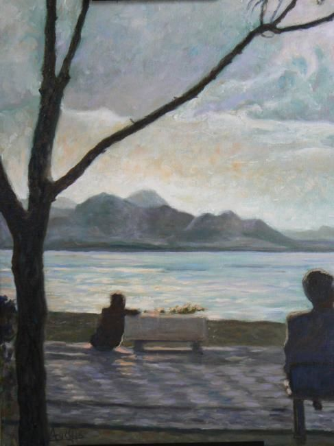 Rêverie aux Iles Canaries - Painting,  46x36 cm ©2006 by Azucena -                            Figurative Art, Sunset sea islands